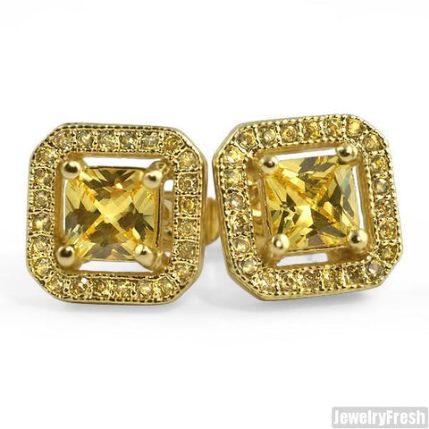 Canary Simulated Diamond Floating Stone Earrings