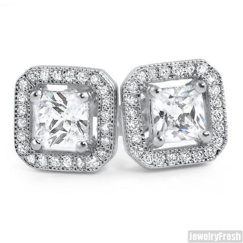 Rhodium Simulated Diamond Floating Stone Earrings