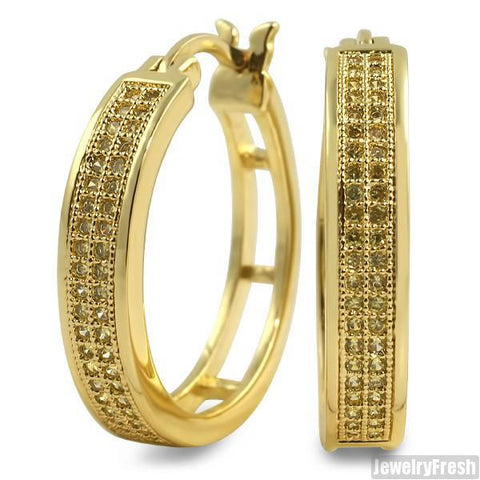 Canary 2 Row Micropave CZ 24mm Hoop Earrings