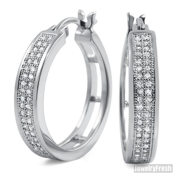 Rhodium 2 Row Micropave CZ 24mm Hoop Earrings