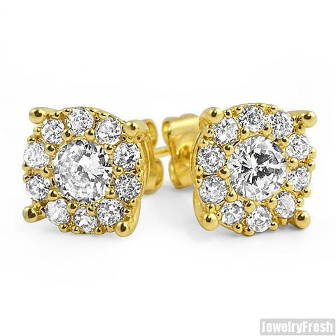 18k Gold Finish Fancy VVS Cluster Stud Earrings