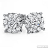 White Gold Finish Fancy VVS Cluster Stud Earrings