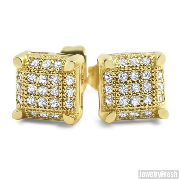18k Gold Finish Small Cube Micro Pave Earrings
