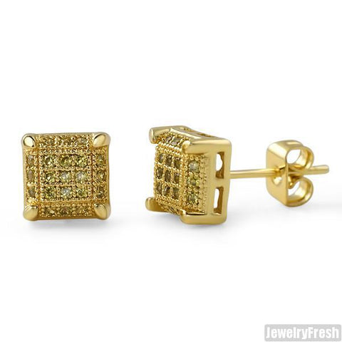 Gold Canary Lemonade Cubic Zirconia Stud Earrings