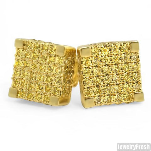 Gold Lemonade CZ Hand Set 9mm Cube Earrings
