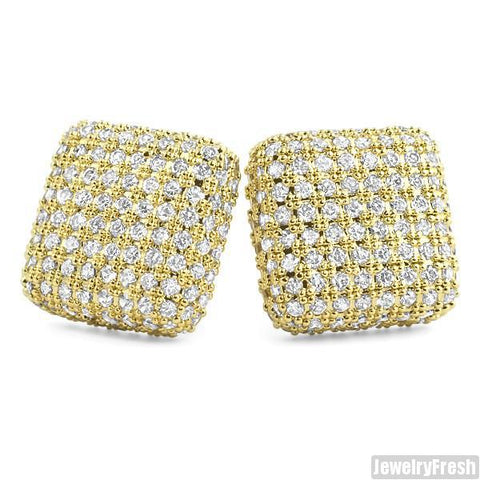 18k Gold Finish Jumbo Micropave Square CZ Earrings