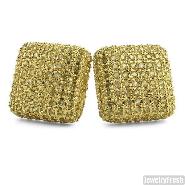 Canary Lemonade Jumbo Micropave Square CZ Earrings