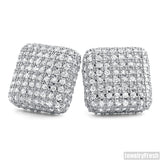 White Gold Finish Jumbo Micropave Square CZ Earrings