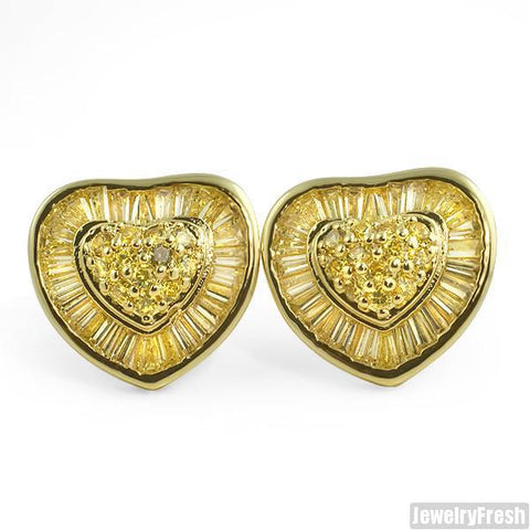 Canary Yellow Large Heart Shaped CZ Earrings