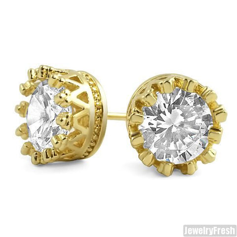 Gold Finish 1.3 Carat 7mm CZ Stud Crown Setting