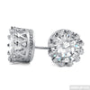 Rhodium Finish 1.3 Carat 7mm CZ Stud Crown Setting