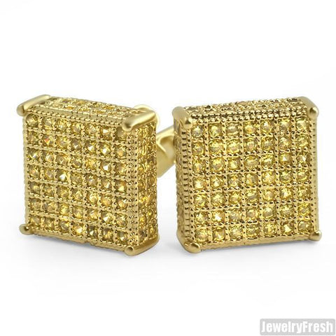 Lemonade 10mm Simulated Diamond Square Earrings
