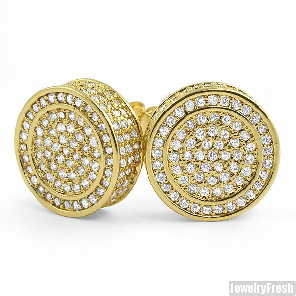 18k Gold Plated XL 360 Fully Iced Round Earrings