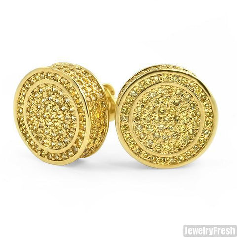 Canary Yellow XL 360 Fully Iced Round Earrings