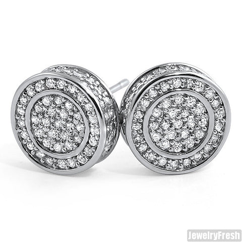 White Gold Finish Iced Out 360 Round CZ Earrings