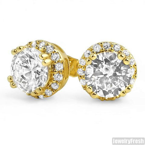 Gold Finish 2 Carat Solitaire Custom CZ Earrings