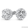 Rhodium 2 Carat Solitaire Custom CZ Earrings