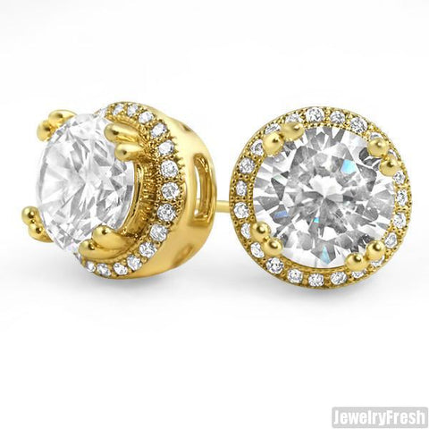 Gold Tone Big Stone Simulated Diamond Earrings