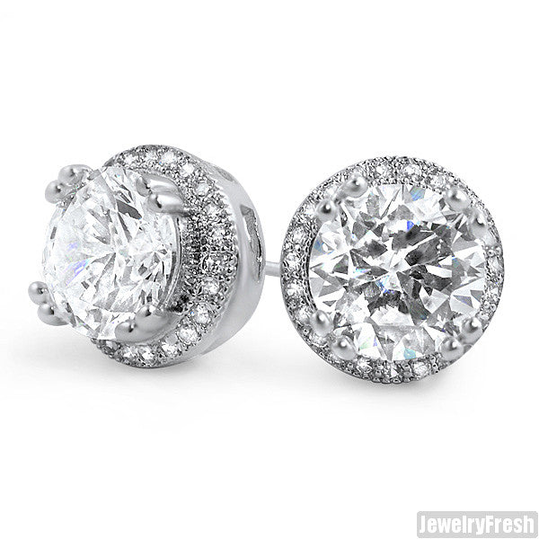 Rhodium Big Stone Simulated Diamond Earrings