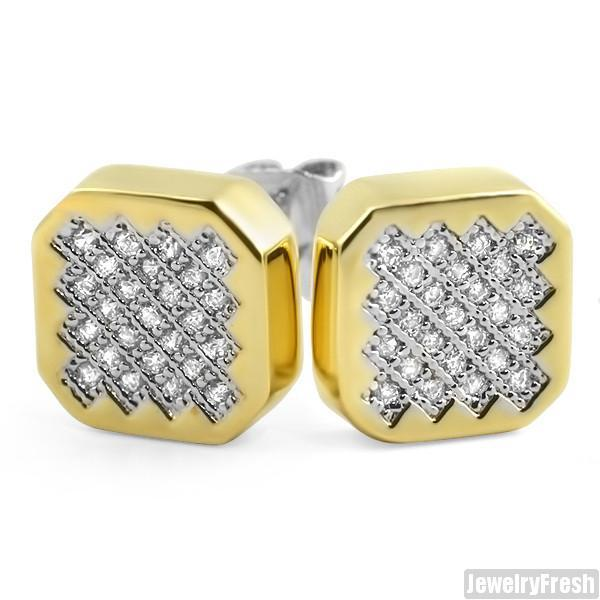 Gold Finish Hexagon Micro Pave CZ Stud Earrings