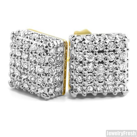 Gold Finish VVS Lab Simulated Diamond Box Earrings