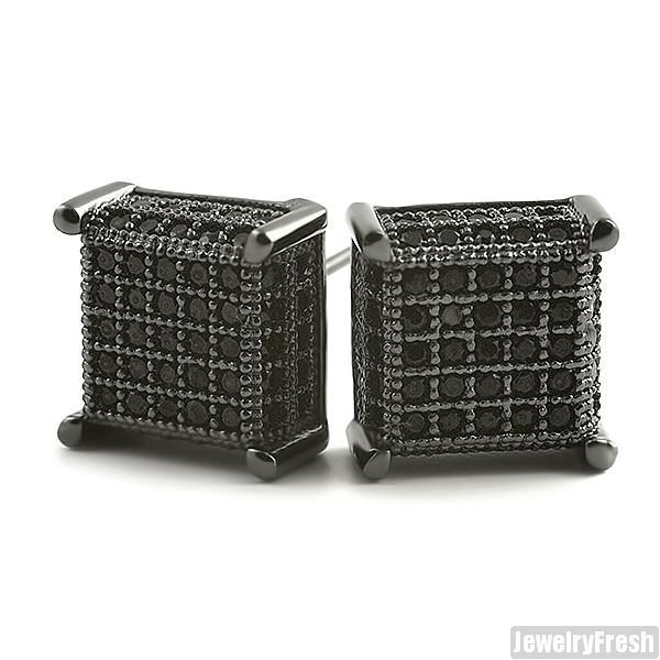 Black Finish 360 Fancy Cube Earrings Flawless VVS