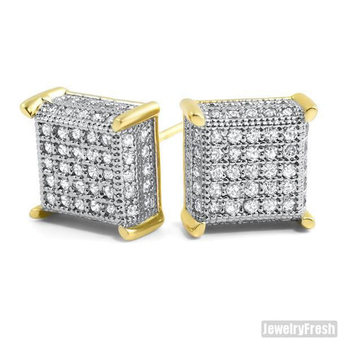 18k Finish 360 Fancy Cube Earrings Flawless VVS