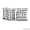 Rhodium 360 Fancy Cube Earrings Flawless VVS