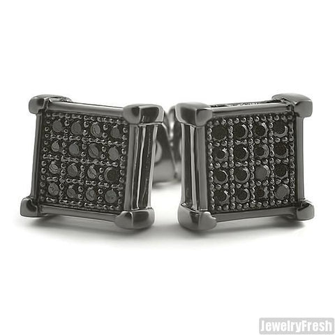 Black Finish Micro Pave CZ Square Earrings