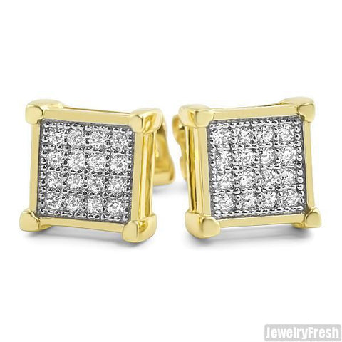Gold Finish Micro Pave CZ Square Earrings