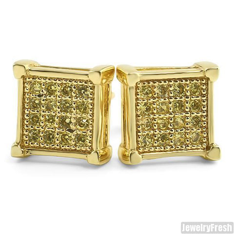Canary Yellow Micro Pave CZ Square Earrings