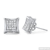 White Gold Finish Full Iced Out Kite Earrings