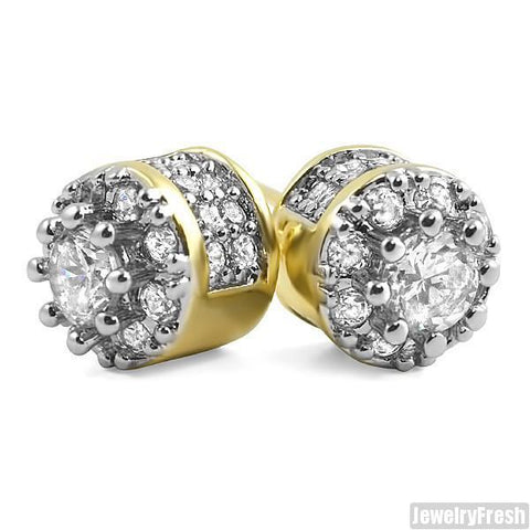 18k Gold Fancy 3D Cluster VVS Flawless Earrings