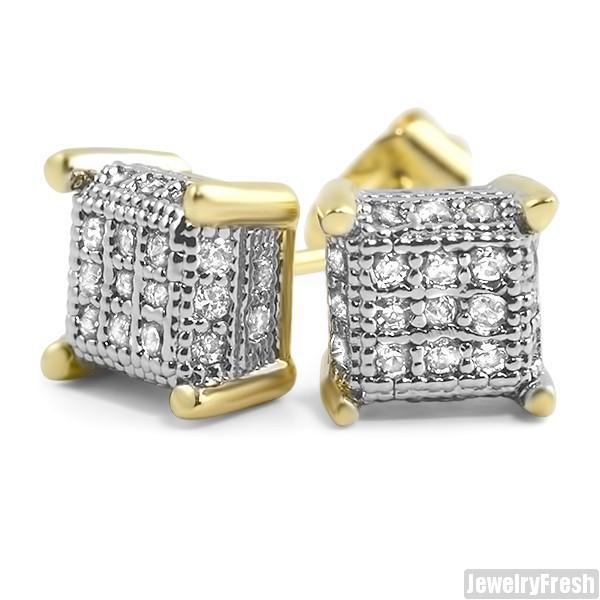 Gold Finish Small 360 Cube Micropave CZ Earrings