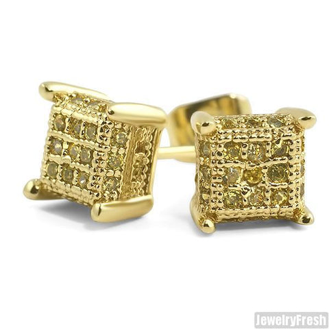 Lemonade Small 360 Cube Micropave CZ Earrings