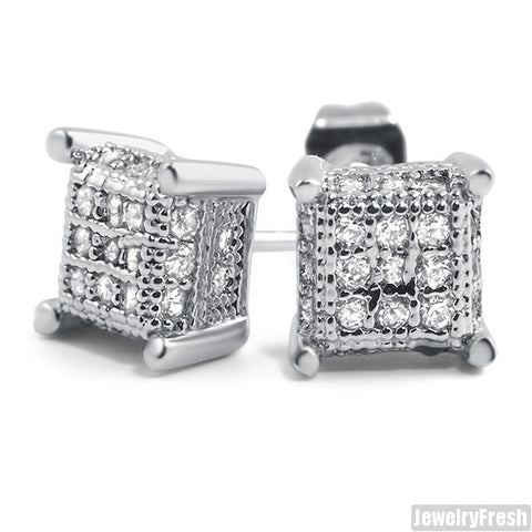 Rhodium Small 360 Cube Micropave CZ Earrings