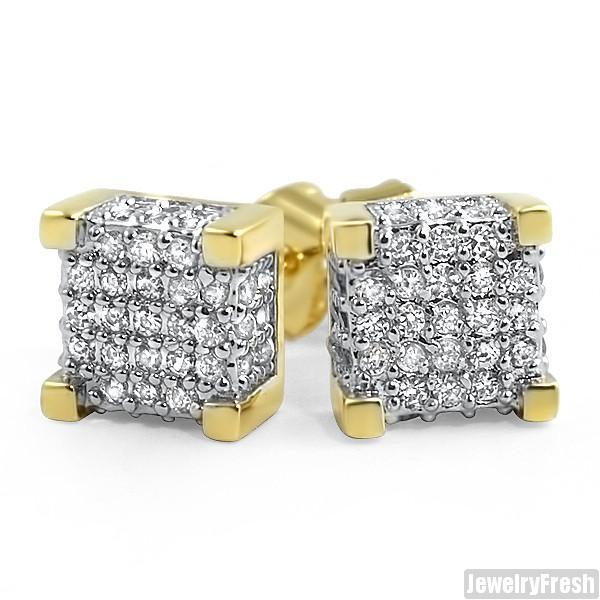 18k Gold Finish 360 Cube Micropave CZ Earrings