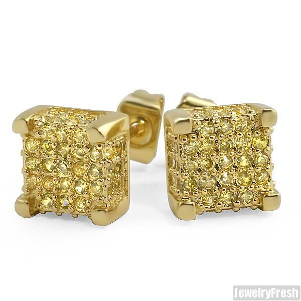 Canary Lemonade 360 Cube Micropave CZ Earrings