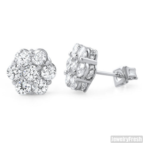 Rhodium Simulated Diamond Large Cluster Earrings