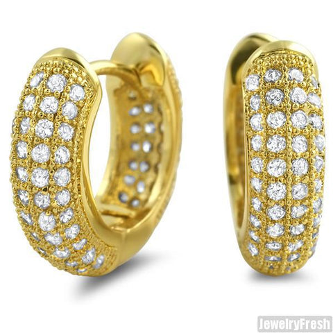 Gold Finish 12mm Micropave Prong Set CZ Hoop Earrings