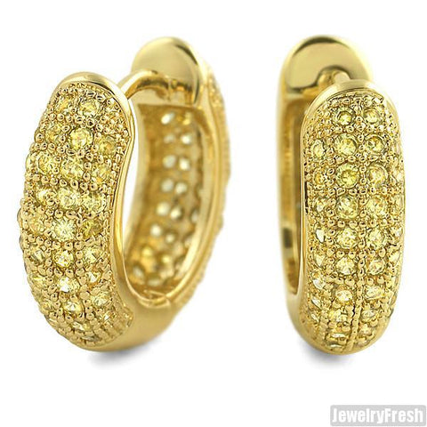 Canary Lemonade 12mm Micropave Prong Set CZ Hoop Earrings