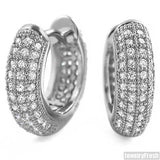 Rhodium 12mm Micropave Prong Set CZ Hoop Earrings