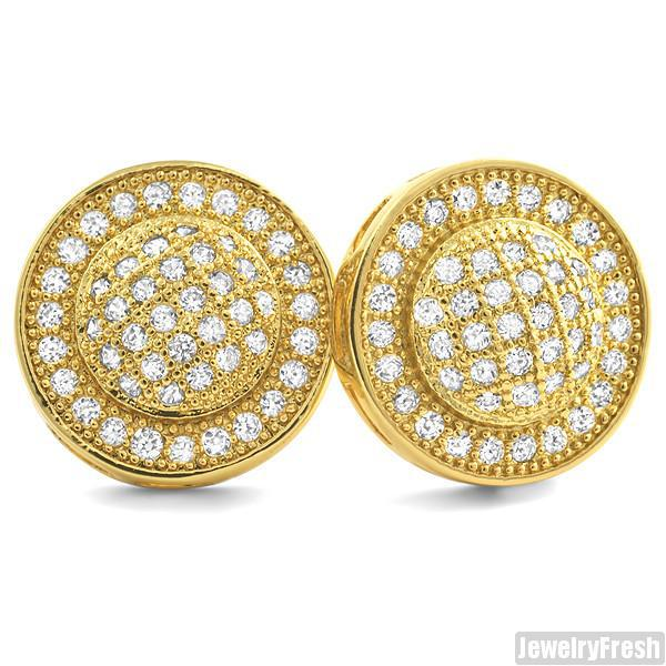 18k Gold Finish Micropave Domed Circle CZ Earrings