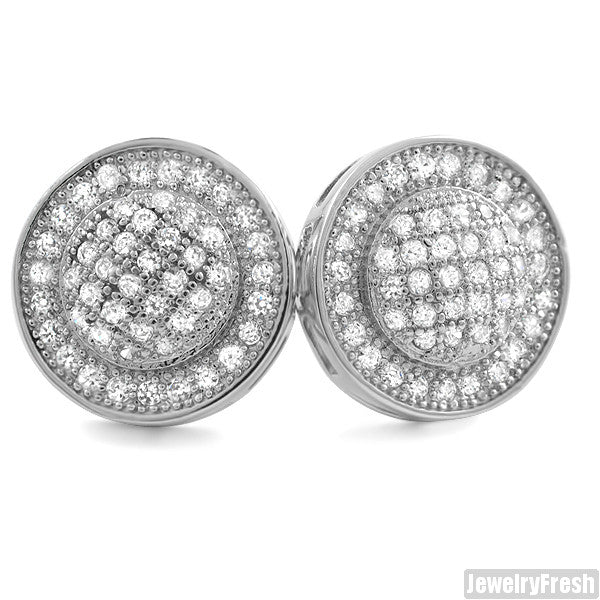 White Gold Finish Micropave Domed Circle CZ Earrings