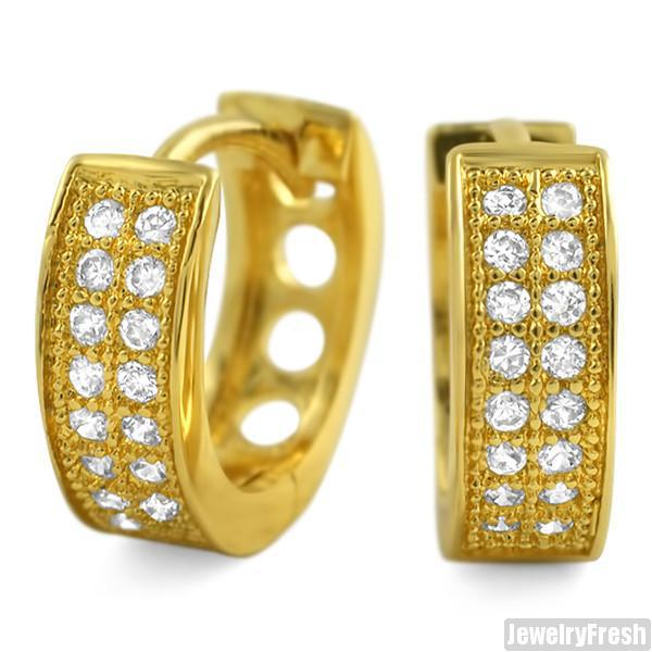 18k Gold Finish Cubic Zirconia 2 Row Small Hoop Earrings