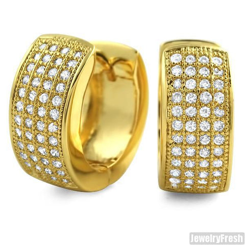 Yellow Gold Finish 4 Row Iced Out CZ Hoop Earrings