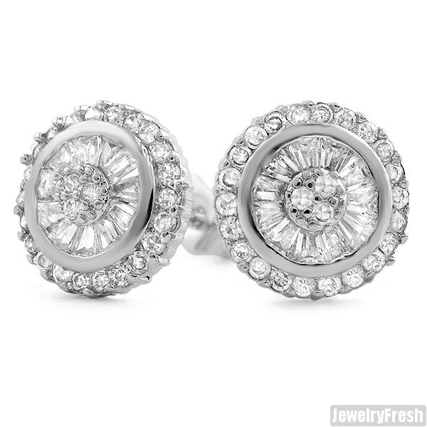 White Gold Finish Baguette CZ Iced Out Stud Earrings