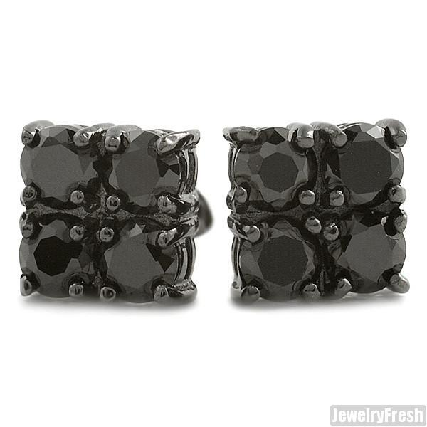 2.00 CTW Four Stone Black CZ Stud Earrings