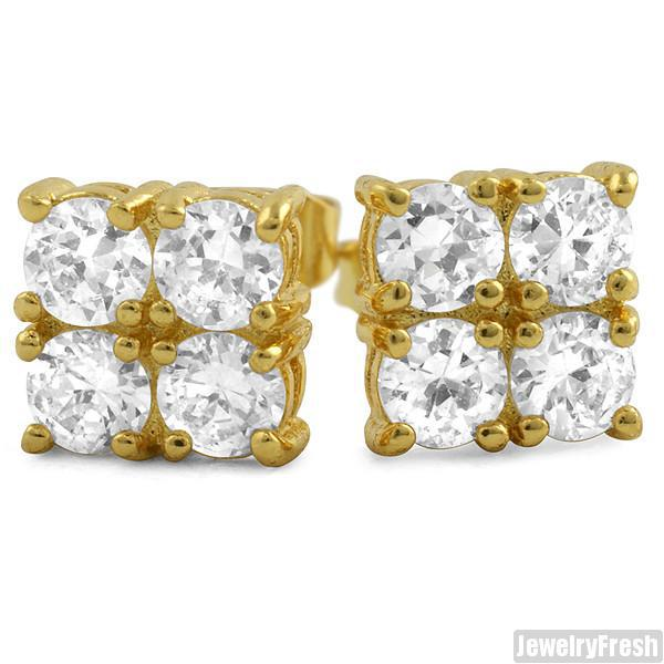 2.00 CTW Four Stone Gold Finish CZ Stud Earrings