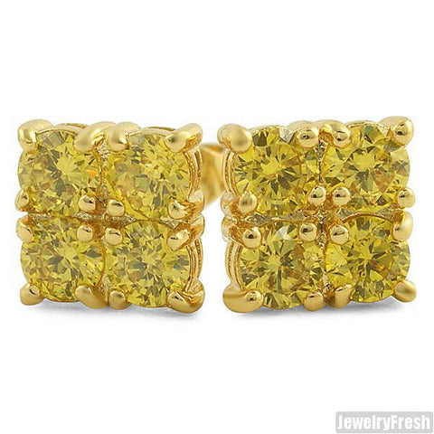 2.00 CTW Four Stone Gold Canary CZ Stud Earrings